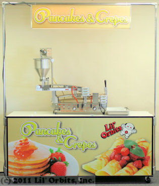 "Lil' Orbits Uni-Matic II machine on custom wrapped ""Pancakes & Crepes"" SS2403 Cabinet with light box marquee."