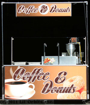 "Lil' Orbits F60-12DDF Downdraft Ventilation Cart with custom ""Coffee & Donuts"" vinyl wrap"