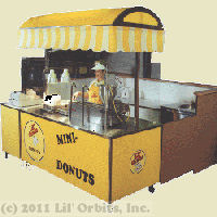 Lil' Orbits freestanding kiosk donut operation with vendor cart and handwash sink